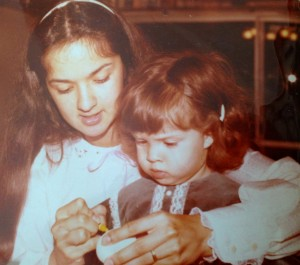 Easter egg dyeing with my mom in 1981.